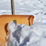 photo of snow shovel pushing snow