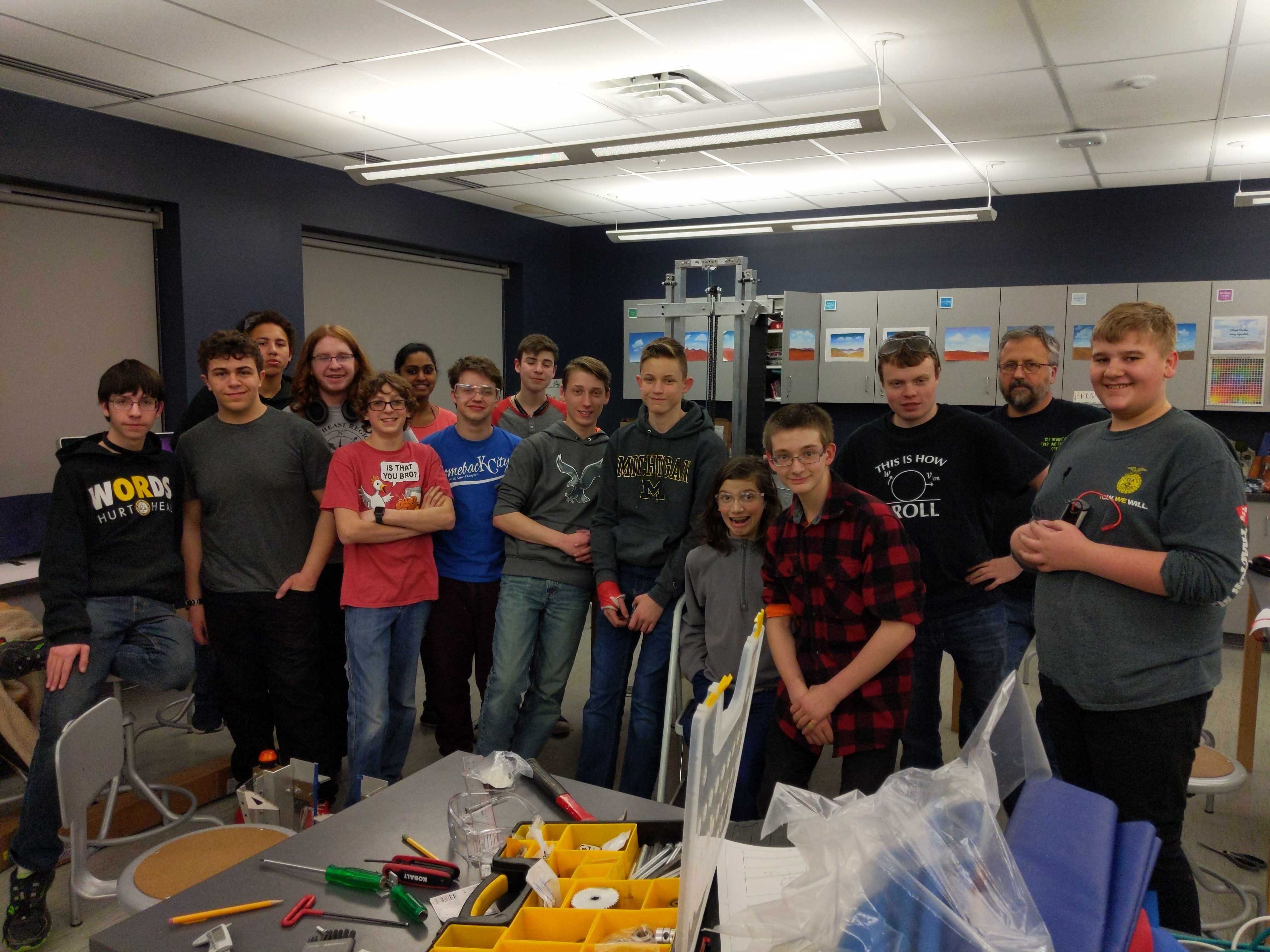 Photo of TVHS robotics team posing in a classroom